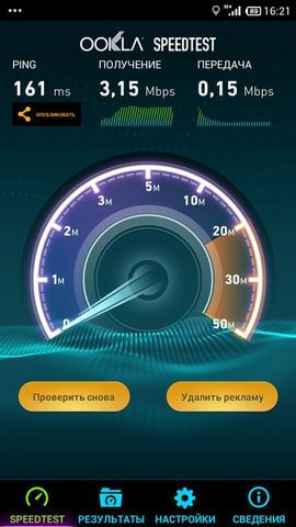 Xiaomi Redmi Note результаты Speedtest.net