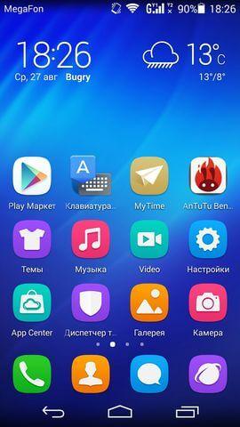 дизайн интерфейса в Huawei Honor 6