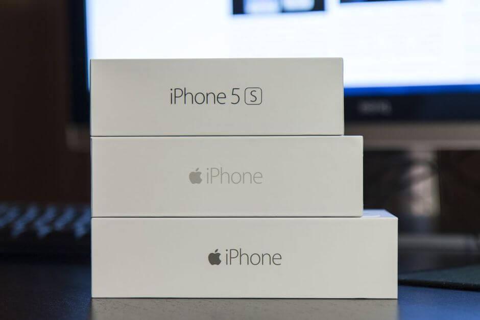 упаковка Apple iPhone 6 Plus в сравнении с упаковкой iPhone 5S и iPhone 6