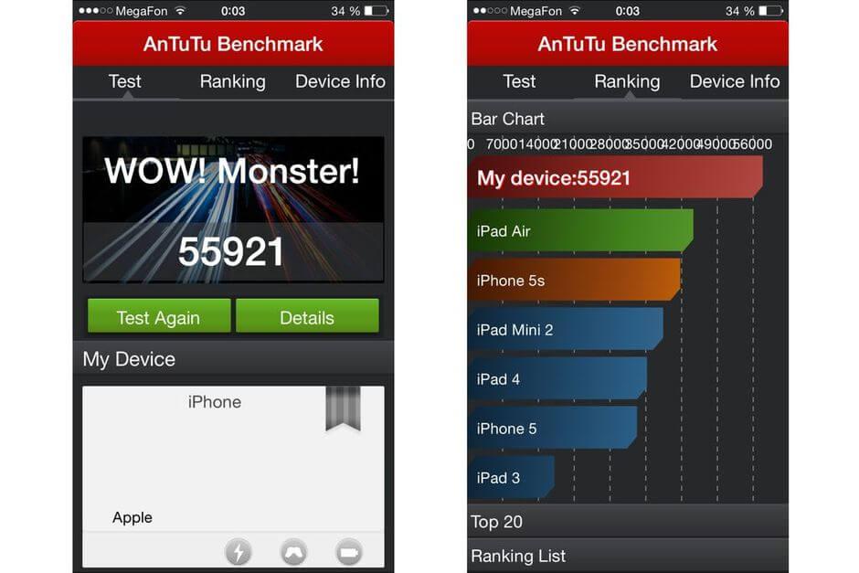Apple iPhone 6 Plus результат в тесте AnTuTu