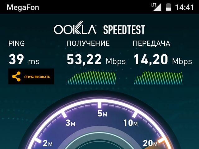 результат теста Speedtest для Motorola Moto G 3rd gen