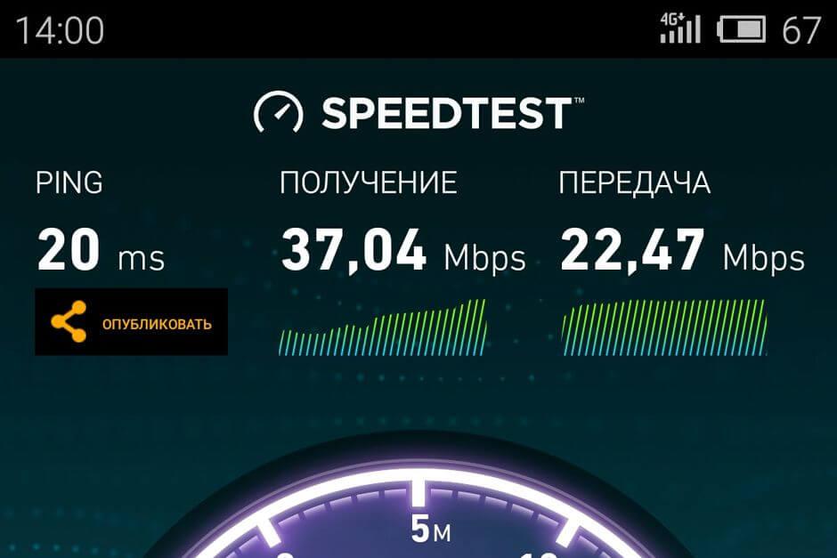 результат Speedtest для Meizu PRO 5
