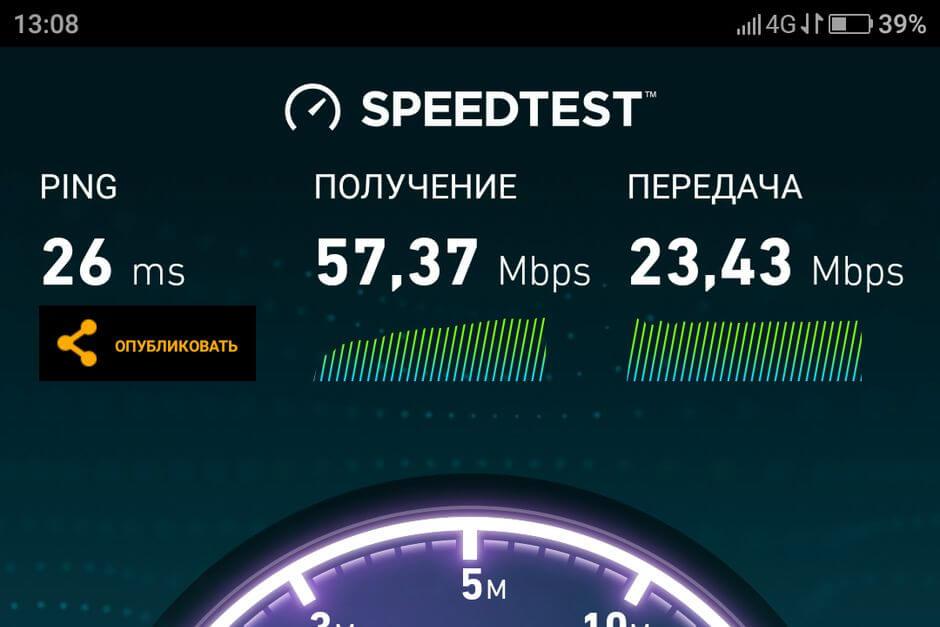 результат Speedtest для ZUK Z1
