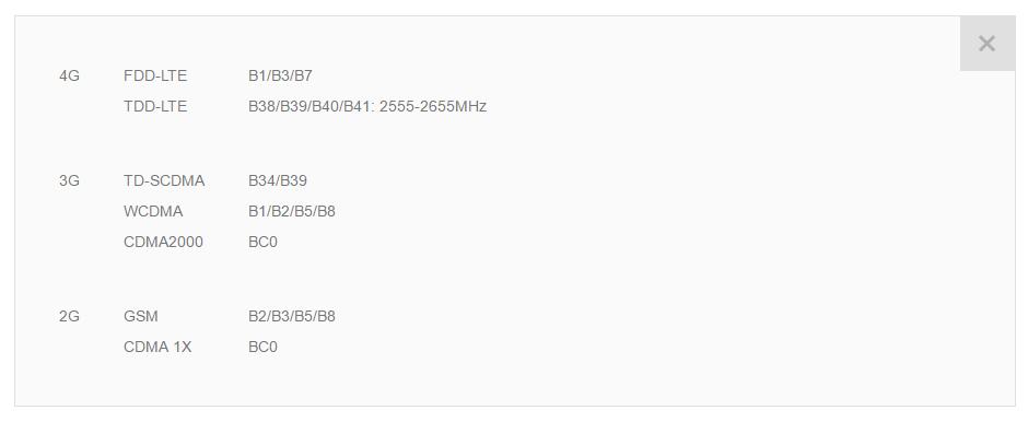 список поддерживаемых частот LTE для Xiaomi Redmi 3s