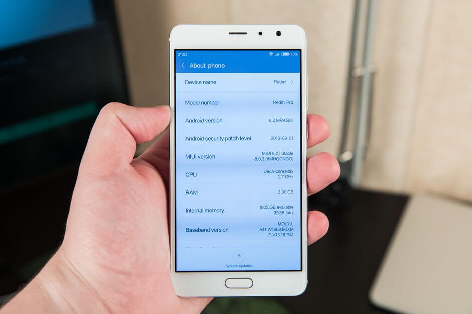 версия Android Xiaomi Redmi Pro