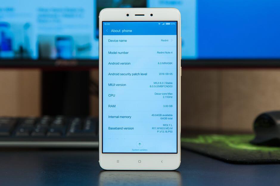 операционная система Xiaomi Redmi Note 4