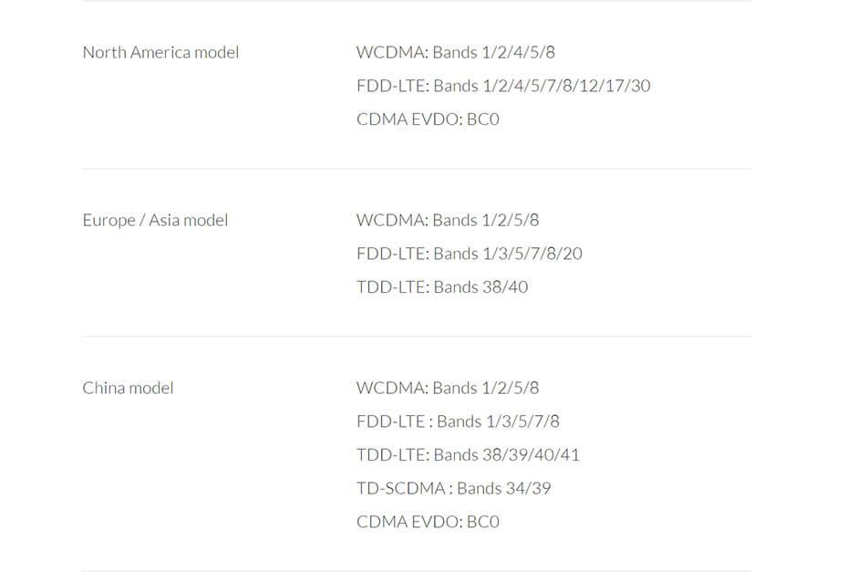 поддержка частот LTE в разных моделях OnePlus 3T