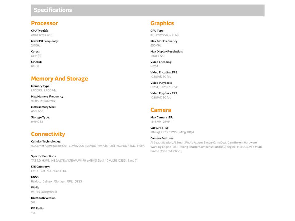 аппаратная платформа Xiaomi Redmi 9A